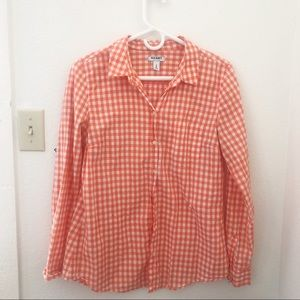 Old Navy Orange Gingham button-up blouse